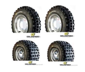Lot de 4 pneus Goldspeed SX Jaune 20 x 6 x 10 + 18 x 10 x 8 port