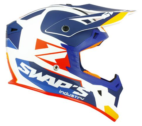 Casque Cross Swaps BLUR S818 Blanc/Bleu/Orange Mat